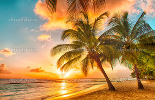 закат на острове Барбадосе
