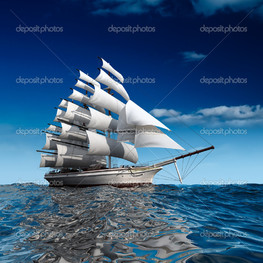парусник в синем море