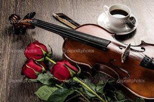 скрипка роза кофе