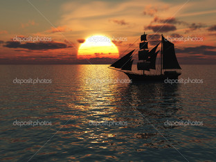 корабль море в закат