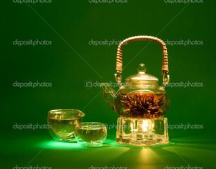 чай на зелёном фоне