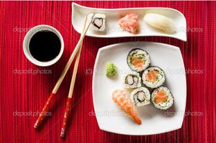 суши на красном