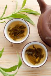 вид сверху зелёный чай