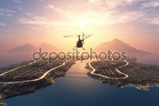 вертолёт, панорама