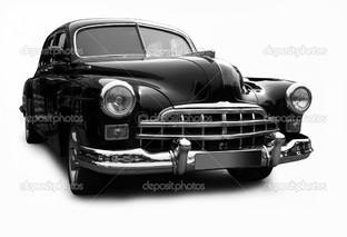 черная ретро машина