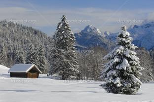домик в снегу ёлка