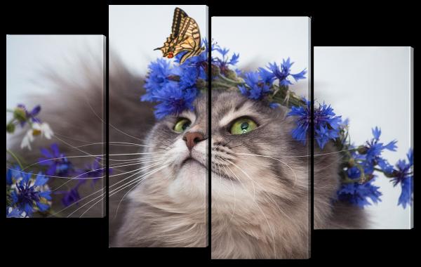 Кошка в цветах