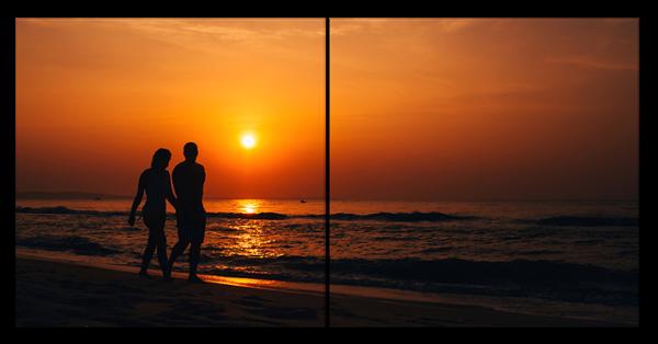 Прогулка под закатом на пляже