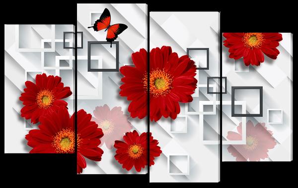 "Абстракция ""Красные цветы"""