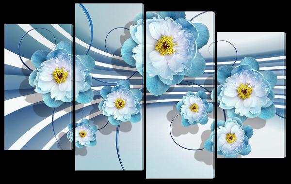 """Абстракция """"Голубые цветы"""""""