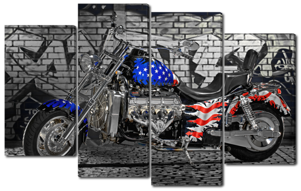 Американский флаг и мотоцикл