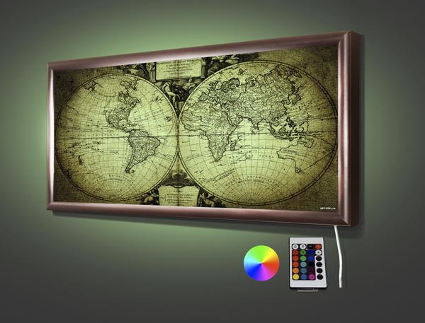 Карта двух полушарий 70,5* 32,5 см