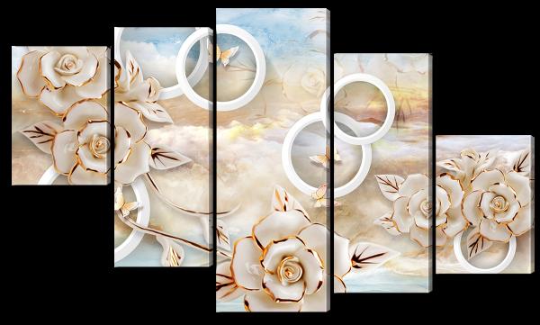 Бабочки и розы, абстракция