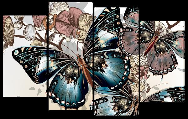 Бабочки и цветки