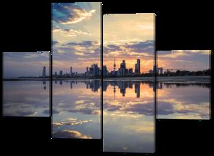 Горизонт город на закате