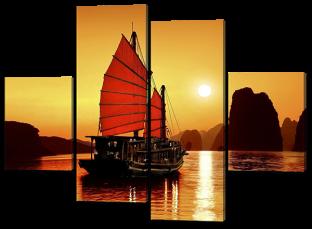 Восточный корабль на закате