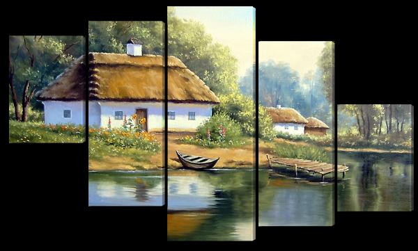 Деревенский дом, акварель