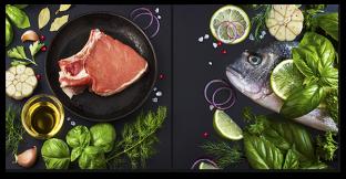 Рыба и стейк