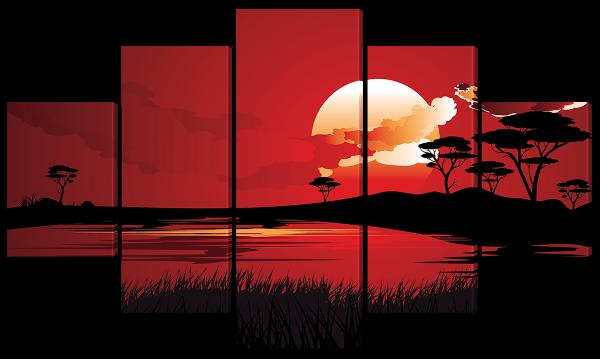 Багровый закат в Саванне