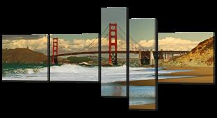 Вид с берега на мост