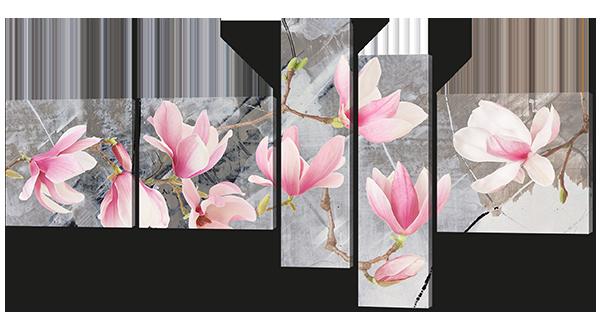 Цветы магнолии на сером фоне