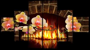 Камин и орхидеи