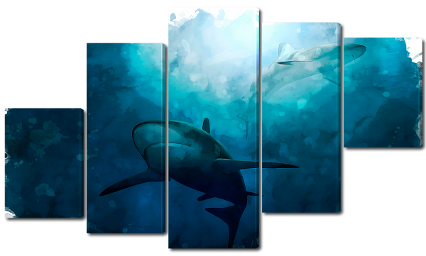 Акулы акварелью