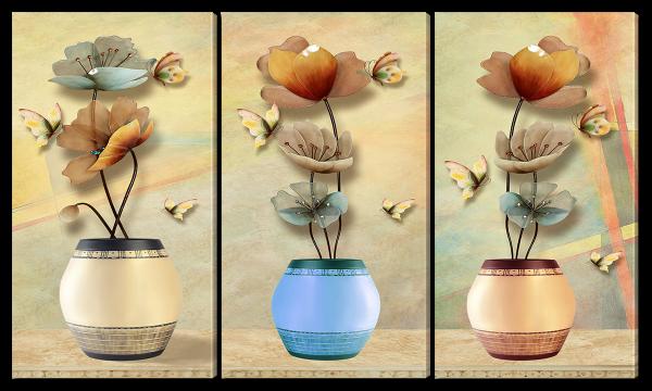 Бабочки и цветы, абстракция