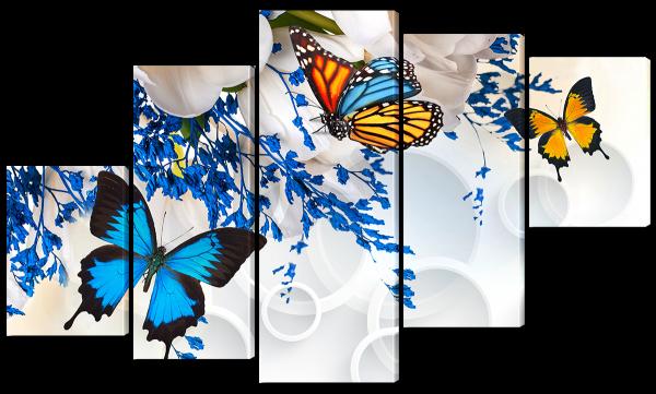 Бабочки и белые цветы