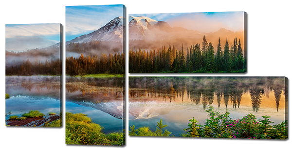 Отражение горы лес