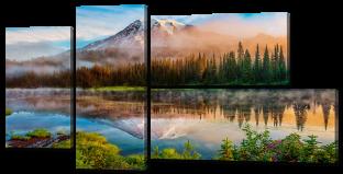 Отражение горы, лес, озеро