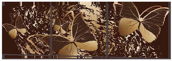 Бабочки на коричневом фоне