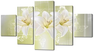 Три лилии и бабочки