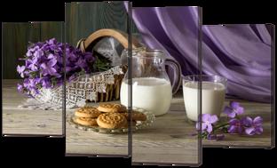Натюрморт с молоком и печеньем