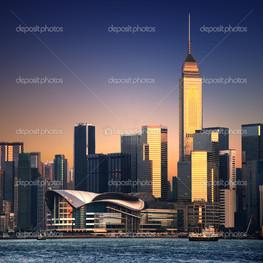Гонконг городской пейзаж на закате