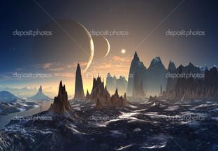 планета и горы с Луны