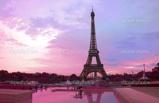 Эйфелева башня розовый закат