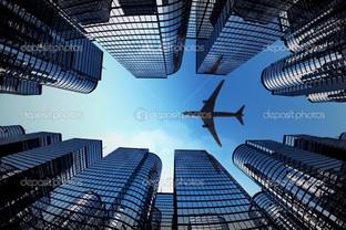 бизнес башни самолет силуэт