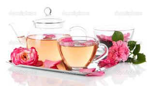 чайник и чашка чай, роза