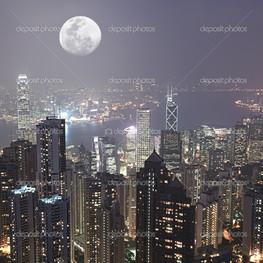 ночной город Гонконг