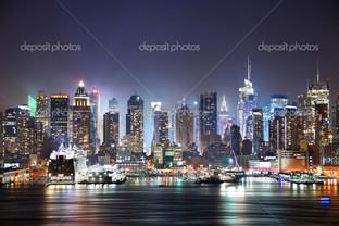 Нью-Йорк панорама в ночь