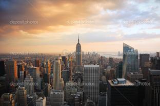 город Нью-Йорк рассвет