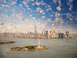 Нью-Йорк пейзаж статуя свободы