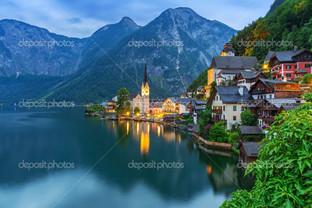 Гальштат в Альпах сумерки