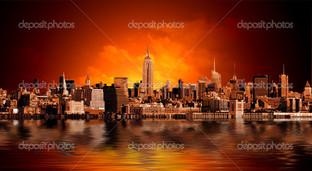 Нью-Йорк панорама на небоскребы