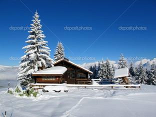 зимний пейзаж ёлка домик