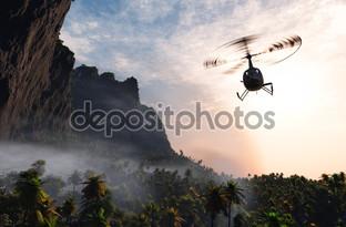 гражданский вертолет над лесом